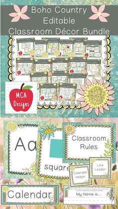 Check out my Boho Country Editable Classroom Décor Bundle! This features all you need to create a fresh new look for your classroom this fall! Check out the preview for a quick look at this colorful theme. My Boho Country Classroom Décor Bundle features my ENTIRE Boho Country collection including several editable features! #teacherspayteachers #tpt #classroommanagement #backtoschool Classroom Décor, Classroom Freebies, Classroom Resources, 1st Grade Activities, Teaching Resources, Teaching Ideas, Class Decoration, Teacher Favorite Things, Classroom Management