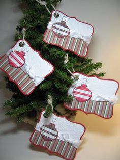 Top Note Tags by geobeck - Cards and Paper Crafts at Splitcoaststampers christmaswrapping Christmas Paper Crafts, Noel Christmas, Christmas Gift Tags, Xmas Cards, Handmade Christmas, Holiday Crafts, Christmas Decorations, Gift Cards, Christmas Punch