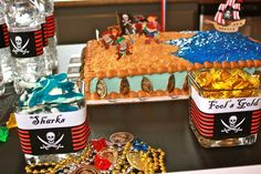 "Pirates / Birthday ""Pirate Party"" . Fool's Gold, Shark gummies, Labels for water bottles, Gold coins."