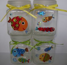 Kid's birthday party favor mini treat jars (metallic fish).  Etsy.