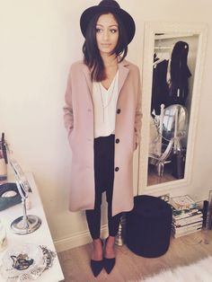 A blush coat over black and white. Bringing some colour into winter.