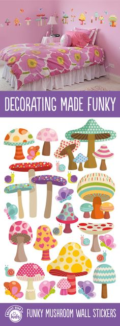 Create a gorgeous theme to your little girls room with these Funky Mushroom Wall Stickers! Buy online now for only $59.95 here: http://www.brightstarkids.com.au/Funky-Mushroom-Wall-Stickers.aspx?p898 #mushroom #funky #wallstickers #girlsroom