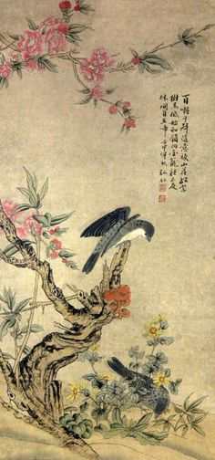 "Chinese Scroll Painting Manner of Hong Ren. Polychrome painting of two birds amongst flowering plants, with three lines of calligraphy and 2 red seal marks, 24"" W x 65"" L. Condition: some foxing."