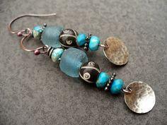 BLUE MOON-handmade copper, sterling silver, and beaded earrings. $38.00, via Etsy.