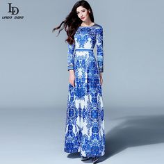 Runway Maxi Dress Spring Women Long sleeve Vintage Ethnic Blue and White Printed Long Dress $57.39   => Save up to 60% and Free Shipping => Order Now! #fashion #woman #shop #diy  http://www.clothesdeals.net/product/ld-linda-della-2015-designer-runway-maxi-dress-spring-women-long-sleeve-vintage-ethnic-blue-and-white-printed-long-dress