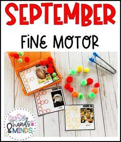 September Fine Motor Task Boxes for Preschool