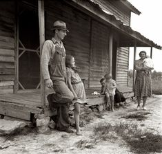 "July 1939. ""Tobacco sharecropper's house. White family. Rural rehabilitation clients. Whitfield family. Near Gordonton, North Carolina."" 35mm nitrate negative by Dorothea Lange"