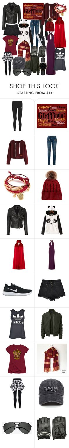 """""""all year round: Gryffindor"""" by annabethjames ❤ liked on Polyvore featuring adidas Originals, Traits, Balmain, IRO, WithChic, Galvan, Aloura London, NIKE, adidas and LE3NO"""