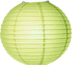 Yellow-Green 14 Inch Round No Frills Paper Lantern (parallel ribbing) | Luna Bazaar