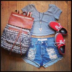 Brandy Melville outfit-grey crop top,denim high waisted shorts,red vans,aztec print backpack. :)