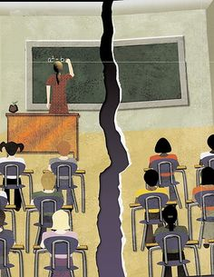 """Split Classroom - A telling graphic on the achievement gap from the Kettering Foundation's """"Too Many Children Left Behind: How Can We Close the Achievement Gap? Schools In America, Education Reform, Black Kids, Sociology, Social Issues, Different, Online Courses, Fun Facts, Gap"""