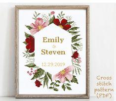 Wedding Cross Stitch Patterns, Modern Cross Stitch Patterns, Alphabet And Numbers, Cross Stitching, Wedding Gifts, Floral Wreath, Quilting, Anniversary, Pdf