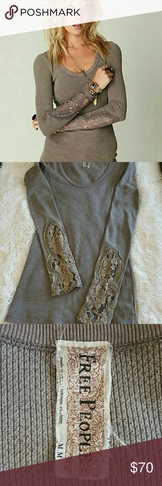 FREE PEOPLE TAUPE CRAFTY CUFF THERMAL EUC, there are no flaws,  tears or damage.  Love this thermal but a med is to small for me because I like a looser fit.   ??Trades Free People Tops