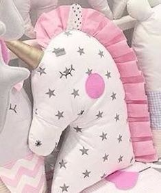 Sewing Toys, Baby Sewing, Sewing Crafts, Sewing Projects, Sewing Ideas, Cute Pillows, Baby Pillows, Kids Pillows, Unicorn Pillow