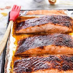In this maple glazed salmon recipe, a spicy sweet rub tops salmon fillets that are broiled to create a caramelized crust for an easy dinner. Baked Salmon Recipes, Fish Recipes, Seafood Recipes, Cooking Recipes, Dinner Recipes, Dinner Ideas, Macro Recipes, Seafood Dishes, Pork Recipes