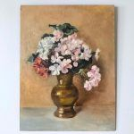 A vintage still life oil painting of flowers in a brass vase; gorgeous colour palette in warm tones with pink blooms. Oil on masonite board, signed lower right. Still Life Flowers, Still Life Oil Painting, Floral Paintings, Flower Vases, Vintage Art, Bloom, Brass, Pink, Flower Pots