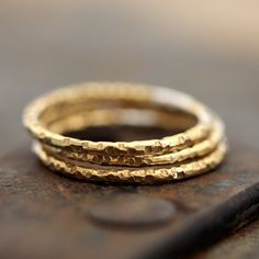 14k Gold Textured Ring by Praxis Jewelry