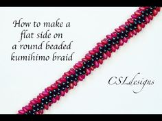 How to make a flat side to a round beaded kumihimo braid - YouTube