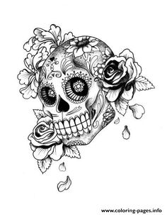 Day Of The Dead Skull Tattoo Artwork Tattoo Gallery Ink Trails Tattoo Forum Coloring pages Kunst Tattoos, Sugar Skull Tattoos, Sugar Skulls, Mexican Skull Tattoos, Skull Coloring Pages, Colouring Pages, Coloring Books, Caveira Mexicana Tattoo, Adulte Halloween