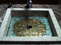 Gorgeous Grecian tile mosaic sink. Gold and teal with marble outline.