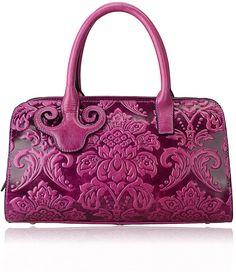Pijushi Embossed Flower Leather Handbag Genuine Leather Top-handle Bags 22122 (Purple)