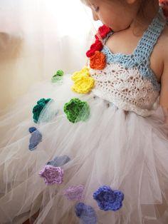Flower Girl Tutu Dress Crochet Bodice Rainbow