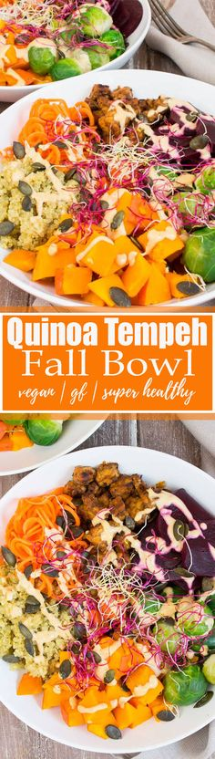 This vegetarian quinoa tempeh bowl with Brussels sprouts and pumpkin is the ultimate fall recipe! It's vegan, gluten-free, and SO healthy! It makes such an awesome vegan lunch or dinner! Find more vegan recipes at veganheaven.org <3