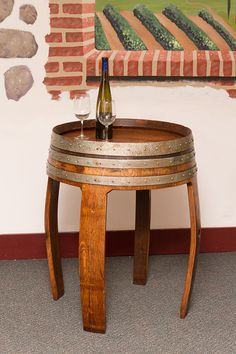 Sonoma Barrel Table is handcrafted from an authentic retired wine barrel. The table is coated with a satin finish clear coat for lasting beauty. Whiskey Barrel Furniture, Whiskey Barrels, Barrel Projects, Wood Projects, Woodworking Projects, Table Baril, Rustic Furniture, Diy Furniture, Pallets