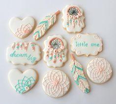 Peach, Cream & Aqua 'Dream Big' Boho Cookies