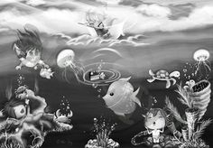 A greyscale/ monochrome digital illustration of under the sea, called 'The FUN A Cartoon, Cartoon Styles, Interactive Art, Website Themes, Clear Sky, Magnifying Glass, New Theme, Freelance Illustrator, Anime Chibi