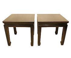 2 Tables d'appoint bois de manguier, noir - 50*50