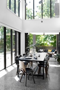 A spacious and sumptuous new build south of Sydney with soaring ceilings and steel frame windows.