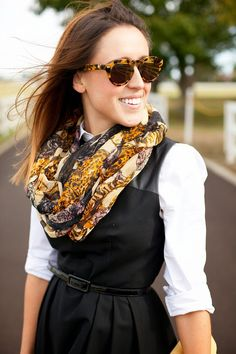 Here & Now: rack it up  Black dress, button-down shirt, fabulous scarf