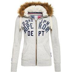 Superdry Nordic Arctic Zip Hoodie ($98) ❤ liked on Polyvore featuring tops, hoodies, light grey, women, zippered hooded sweatshirt, zip hoodie, zip up hooded sweatshirt, logo hoodies and zip up hoodies