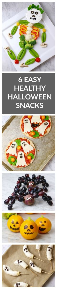 6 Easy, Healthy Halloween Snacks - super easy to make and healthy Halloween snacks that kids will love: ghost popsicles, grape spiders, veggie skeleton, and more!