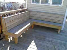 The deck gives you an excellent way to relish your backyard. You also are interested in being in a position to find out what the deck will look like from various angles. Inside this regard, a two-t… Deck Bench Seating, Built In Seating, Patio Bench, Built In Bench, Outdoor Seating, Backyard Patio, Deck Storage Bench, Pergola Patio, Steel Pergola