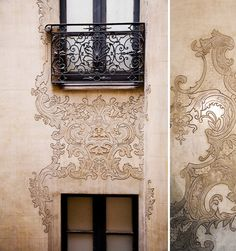 wall decoration and wrought iron balcony - lovely
