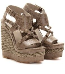 BALENCIAGA  ROPE DETAILED STUDDED LEATHER WEDGE SANDALS