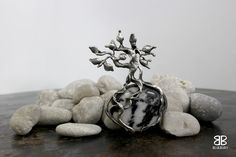 Stromek - cínovaný šperk - zebrovaný mramor