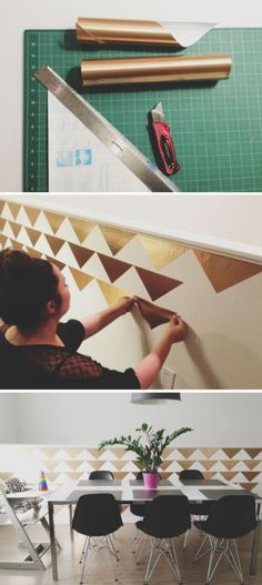 Obsessed!  How to Create a Temporary DIY Triangle Accent Wall for Less than $3! {UpcycledTreasures.com}