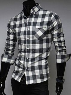 Academic Plaid Long Sleeves Cotton Blend Men's Shirts - Milanoo.com