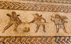 Part of the gladiator mosaic from the Bignor Villa, West Sussex, Britain. 3rd-4th. century.