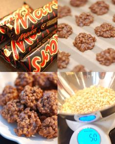 4 mars, 90 gr smör (smält) o blanda i 50 g ris. Candy Recipes, Baking Recipes, Cookie Recipes, Christmas Sweets, Christmas Baking, Candy Cookies, Swedish Recipes, Homemade Candies, Bagan