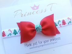 Girls/Baby Headband Red Christmas Bow by BowtiquebyprincessT