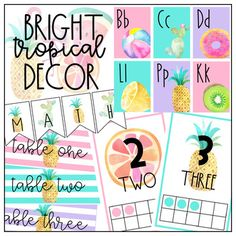 This bright and colorful classroom decor set is perfect for any pineapple and lover out there! This decor bundle includes over 160 pages of editable and ready to print documents that are perfect for a tropical classroom. PLEASE READ what is included below before purchasing: -Colorful Alphabet posters featuring beautiful watercolor