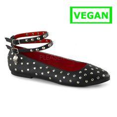 Vail-04 ballerina met dubbele enkel band en ronde stud detail zwart vegan leer…