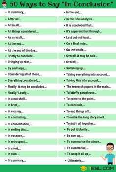 In Conclusion Synonym! List of other ways to say In Conclusion in English with ESL picture. Learn these synonyms for in conclusion to improve your vocabulary and fluency in English. Essay Writing Skills, Ielts Writing, English Writing Skills, Academic Writing, Writing Words, English Lessons, English Tips, Improve English Writing, Improve Writing Skills