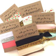 Set of 3 Hair Ties on Will you be my - Bridesmaid, Maid of Honor, Matron of Honor, Jr. Bridesmaid, Flower Cards. Just leave a note to seller in the box provided with your solid colors & glitter color