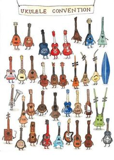 We've been busy stocking the Ukulele store with awesome products sourced from artisans around the world and are excited to share our latest finds with you. Today, meet the 'Ukulele Conventio… Ukulele Drawing, Arte Do Ukulele, Ukulele Store, Cool Ukulele, Ukulele Songs, Ukulele Chords, Ukulele Tattoo, Guitar Tabs, Uke Tabs