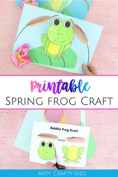 Kickstart Spring with this cute Bobble Head Paper Frog Craft for kids. Spring Art Projects, Spring Crafts For Kids, Crafts For Kids To Make, Kids Crafts, Easy Arts And Crafts, Arts And Crafts Projects, Projects For Kids, Frog Template, Frog Crafts